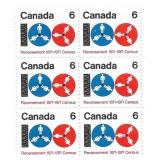 Stamp Block of 6 Unused 6 Cent Stamps (1871-1971)