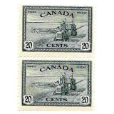 Canada Unused Pair 20 Cent Stamps