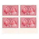 Canada Unused 3 Cent Stamps Block of 4