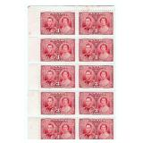 Rare Canada Block Of 10 Unused Stamps 3 Cents