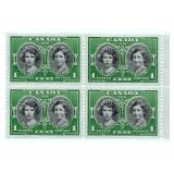 Canada Block of 1 Cent Unused Stamps