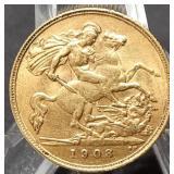 1908 GOLD HALF SOVEREIGN