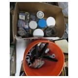 Pail of fittings and box of screws and nails