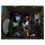 Box of screws, tape measures etc