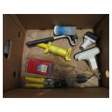 Box lot of string, sander,roller etc