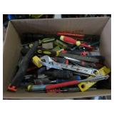 Box of screwdrivers, pliers etc