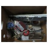Box w/ stapler, spray gun, wire wheels etc