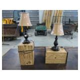 Pr of lamps and bases