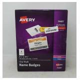 Avery Clip Name Badges- Print or Write- 200 Insert