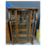 Antique Oak Bow Glass Front China Cabinet