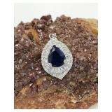Sterling Silver Pendant With Blue Sapphire & C.Z.
