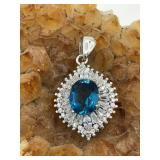 Sterling Silver Pendant With Blue Topaz & C.Z.