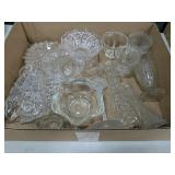Box Lot of Clear Glass Collectibles