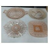 4 Pieces of Pink Depression Glass