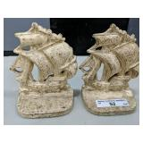 """Pair of Vintage Cast Iron Ship Bookends (4.5"""" high"""