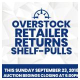 Retailer Returns, Overstock, Shelf Pulls Sept. 23, 2018
