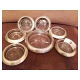 Set of Coasters with Sterling Silver Rims
