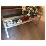 Sofa table with class top