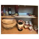 Fitz & Floyd dragon motif china; fruit design platter; Manosque plates; misc