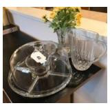 Covered cake plate; crystal pitcher; candle holders