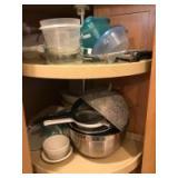 Tupperware, colanders, metal bowls, etc