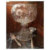 Heavy pattern glass punch bowl