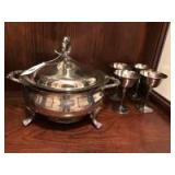 Silverplate covered serving piece with Pyrex liner,