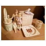 Oval Framed Picture; Lenox Pieces; Ashtray; Tissue Holder