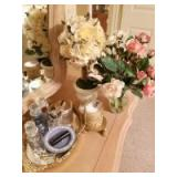 Perfume Bottles; Mirrored Tray; Candle; Floral Arrangements