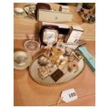 Mirrored Tray; Chanel Perfume; Ring Holder; Miniature Items; Elgin Travel Clock;