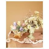 Italian Handpainted Porcelain Floral Piece; Floral Arrangement; Cast Iron Decorative Piece; Gold Plated 4 Leaf Clover