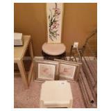 Framed Crewel Floral; Padded Stool; Framed Prints; Plastic Stepstool