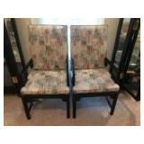 Pair of wood frame armchairs