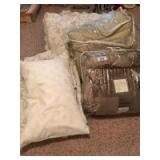 Queen pillows with matching bed spread and coverlet and