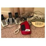 3 Vtech cordless phones and 2 table top phones