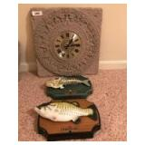 Arabesque wall clock and singing BASS wall plaques