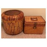Wicker picnic basket and round bamboo Storage bin