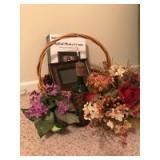 Digital photo frame, basket, bottle and plants