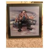 """Two 14"""" x 14"""" clown pictures"""