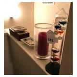 Floating thermometer, iron stone dish, cards, wood box and ashtrays