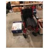 Collapsible wheel chair; toilet seat riser