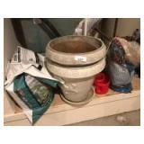 2 ceramic planters; bird seed; potting mix