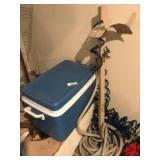 Cooler; garden hoses; hose stand