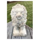 """Pair 18"""" resin lions and 29"""" concrete bench"""