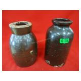 Pair of Salt glazed Stoneware Jars