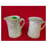 2 Blue & Yellow Spongeware Stoneware Pitchers
