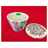 "6.5"" Blue & Brown Spongeware Bowl w/ Lid"