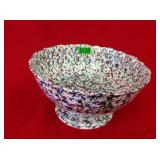 "10"" Footed Bowl Blue & Green Spongeware"