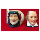 2- Character Mugs Staffordshire Shorter and Son