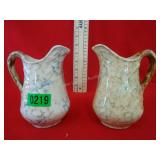 Pair of Spongeware Small Pitchers